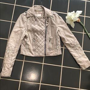 BUCKLE tan distressed leather jacket